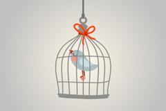 可爱卡通笼中鸟矢量素材