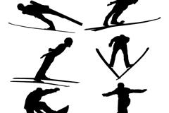 6款跳台滑雪人物剪影矢量素材