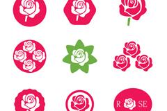 9款创意玫瑰花图标矢量素材图片