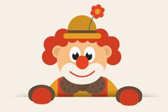 可爱卡通小丑设计矢量素材