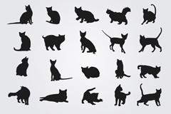 20款黑色猫咪剪影矢量素材