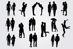 14款浪漫情侣剪影矢量素材
