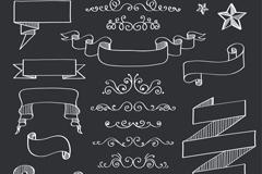 19款丝带条幅和花边设计矢量素材
