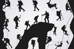 19款户外攀岩和登山人物剪影矢量素材