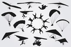 15款跳伞运动剪影矢量素材