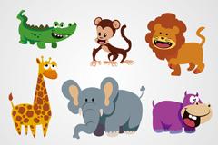 6款可爱卡通野生动物矢量素材