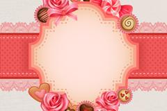 玫瑰与糖果空白标签背景矢量素材