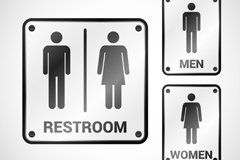 3款卫生间标识设计矢量素材