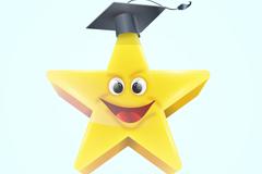 戴博士帽的星星矢量素材