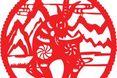 红色圆形山羊剪纸矢量素材