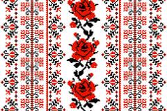 乌克兰刺绣风格玫瑰背景矢量素材