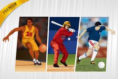 3款动感体育运动选手矢量素材