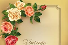 精美玫瑰花边框背景矢量素材