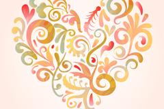 美丽花纹爱心矢量素材