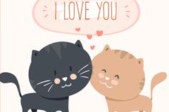 可爱卡通情侣猫咪矢量素材
