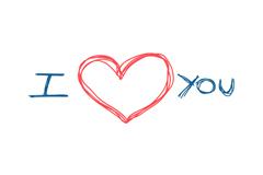 手写我爱你艺术字矢量素材图片