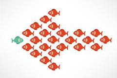 创意卡通鱼组合的箭头矢量素材