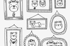 手绘熊家族照片墙矢量素材