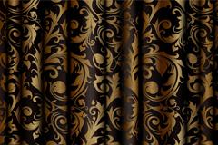 华丽金色花纹绸布设计矢量素材