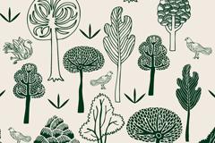 绿色手绘森林与鸽子矢量素材图片