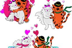 3款卡通情侣猫矢量素材