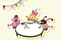 卡通动物的生日聚会矢量素材