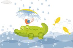 童趣绿色鳄鱼插画矢量素材