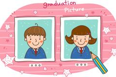 卡通男孩与女孩毕业照片矢量素材
