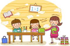 卡通新生入学插画矢量素材