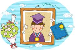 卡通男生毕业照片矢量素材