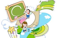 童趣校园生活剪贴画矢量素材