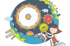 童趣维修地球的女孩插画矢量素材