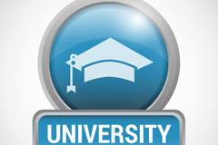 金属质感大学校园标志矢量素材