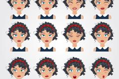 12款卷发女子表情矢量素材