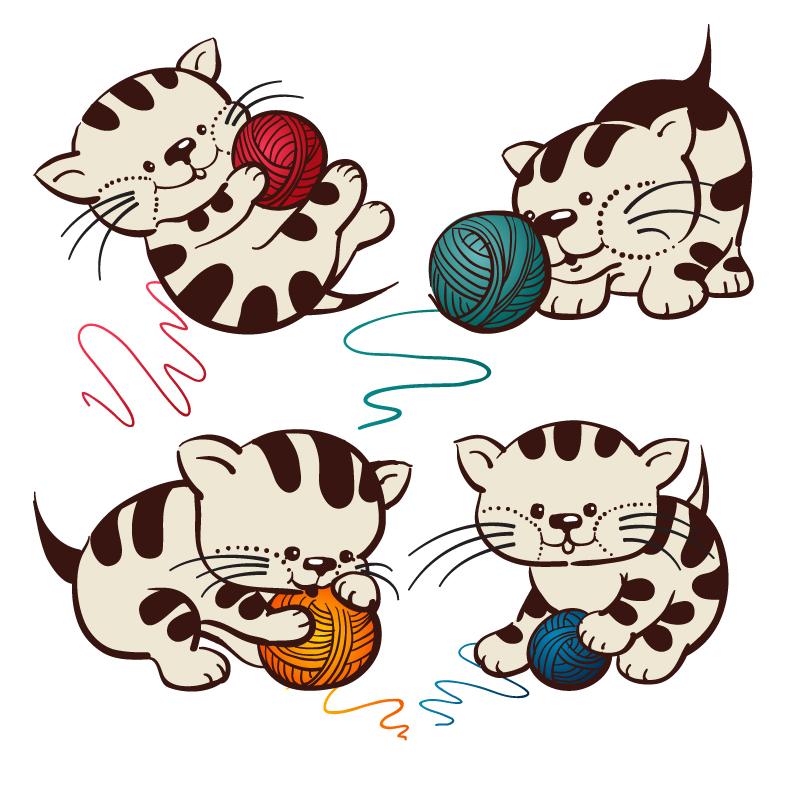 4款卡通玩线团的猫咪矢量素材