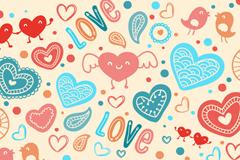 彩绘爱心元素无缝背景矢量素材