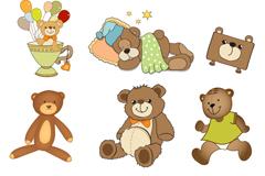 9款卡通泰迪熊玩偶矢量素材