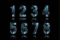 精致蓝色钻石数字与符号矢量素材