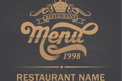 复古金色餐厅菜单设计矢量素材