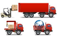 7款红色叉车和卡车设计矢量素材
