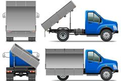 6款蓝色翻斗车设计矢量素材