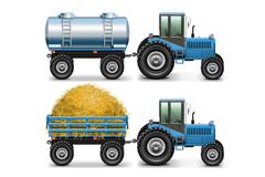 3款精美蓝色拖拉机设计矢量素材