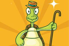 卡通拿拐棍的乌龟矢量素材