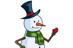 卡通戴礼帽的雪人矢量素材
