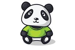 卡通穿绿短袖的熊猫矢量素材