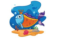卡通戴王冠的鱼矢量素材