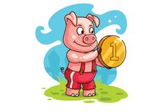 卡通拿金币的猪矢量素材