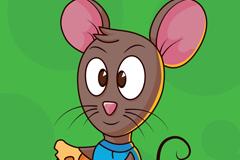 卡通吃奶酪的老鼠矢量素材