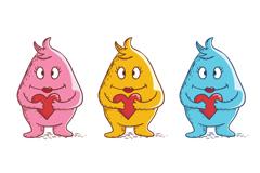 3款彩色抱爱心怪物矢量素材