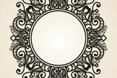 精美黑色圆形花纹边框矢量素材